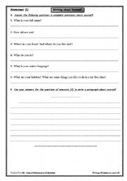 English Worksheets: A Writing Worksheet