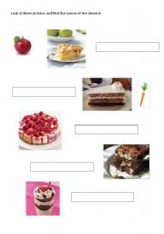 English Worksheet: match the desserts with their pictures