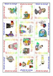 English Worksheet: Word Puzzle 2: What´s he/she doing? includes 2 puzzles and backs