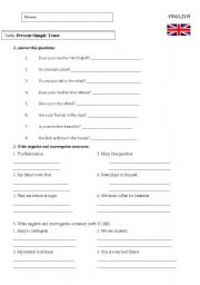 English Worksheet: Negative and questions