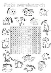 English Worksheets: Pets wordsearch