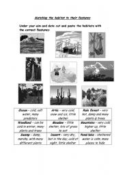 English Worksheets: Matching animals to their habitats