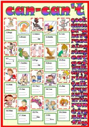 English Worksheet: can can´t