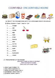 Countable uncountable nouns - ESL worksheet by ...
