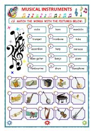 English Worksheet: MUSICAL INSTRUMENTS - MATCH - (plus KEY)