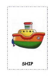 English Worksheet: Transport flashcards.4 flashcars:boat,bike,car, train