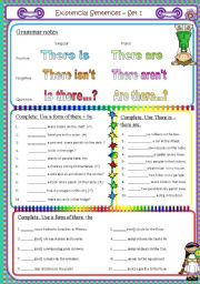English Worksheets: Existencial sentences 1