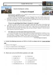 English Worksheet: Test 8th Living in LIverpool
