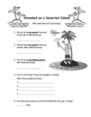 English Worksheet: Stranded on a Deserted Island