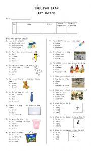 English Worksheet: 1st Grade Exam
