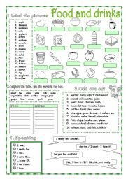 English Worksheet: Food and Drinks - 2 pages + KEY