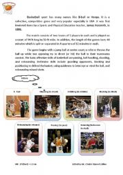 English Worksheet: Basketball Sport( B-ball or Hoops)