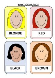 English Worksheet: DESCRIBING PEOPLE/ 12 FLASHCARDS ABOUT HAIR