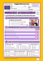 English Worksheet: School Test - version B (7th grade) - part 1