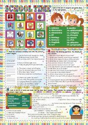 English Worksheet: SCHOOL TIME- KEY INCLUDED