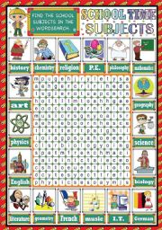 English Worksheet: SCHOOL SUBJECTS PICTIONARY + WORDSEARCH