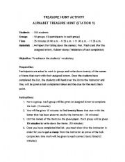 English Worksheets: Treasure Hunt Activity