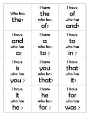 English Worksheets: sight word loop cards