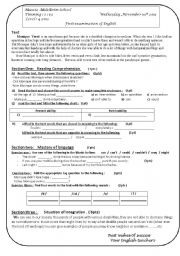 English Worksheet: exam focusing on can/ could /able to