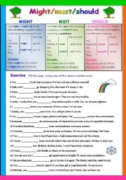 English Worksheet: Might / Must / should