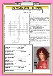 English Worksheet: We found love in a hopeless place - song by Rihanna