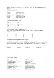 English Worksheets: axam for 4th grades