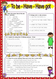 English Worksheet: Worksheet n� 31- to be - have got and have