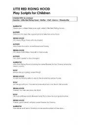 Little Red Riding Hood Esl Worksheet By Elf2