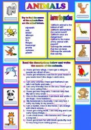 English Worksheets: animal descriptions...