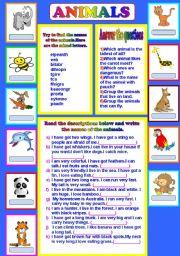English Worksheet: animal descriptions...