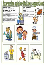 English Worksheet: Expressing Opinion-Making Suggestions Speaking Cards