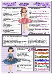 English Worksheets: -ed or -ing