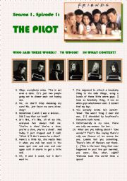 English Worksheets: Video Session: FRIENDS -SEASON 1, EPISODE 1: THE PILOT
