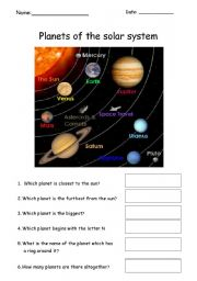 English Worksheet: Planets quiz