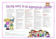 English Worksheets: Muticple choice: Saying sorry in a nice way