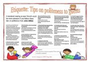 Multiple Choices - Etiquette: Tips on politeness to guests