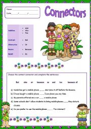 English Worksheets: Connectors