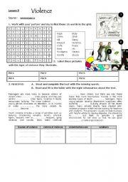 English Worksheet: violence : lesson 9