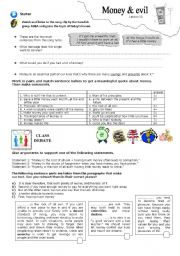 English Worksheets: money and evil