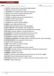 English Worksheets: Occupation definition & Worksheet