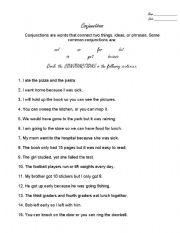 English Worksheets: Circle the Conjuctions!