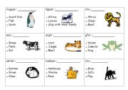 English Worksheets: Talk about your favourite animal