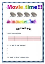 English Worksheet: An Inconvenient truth - Al Gore - Extract n°2 (with comprehensive key)