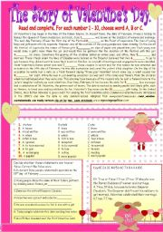 English Worksheet: The Origins of Valentine´s Day.