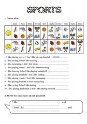 English Worksheets: SPORTS - I like / I don�t like