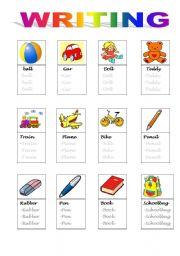 English Worksheets: word writing