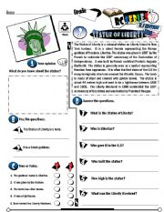 English Worksheet: RC Series_U.S Edition_03 Statue Of Liberty (Fully Editable + Key)