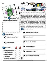 English Worksheet: RC Series_U.S Edition_03 Statue Of Liberty (Fully Editable + Key)