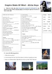 English Worksheet: Empire state of mind (Alicia Keys) (With Key)