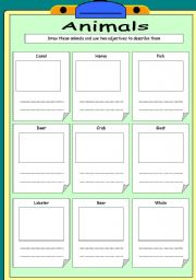 English Worksheets: Animals 2 pages